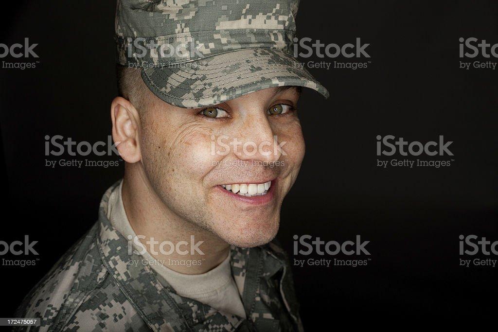 Smiling Soldier Headshot royalty-free stock photo