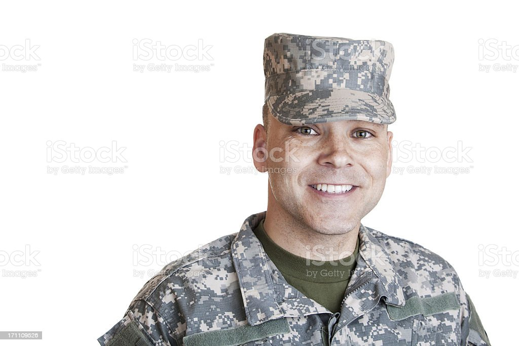 Smiling Soldier stock photo
