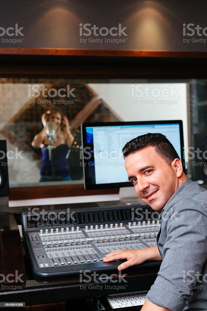 Smiling sound producer stock photo