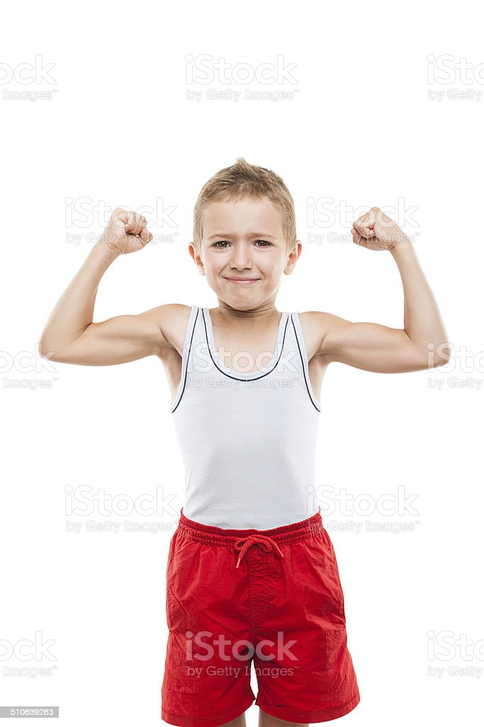 Lächelnd Sport Kind Junge Mit Hand Bizeps Muskeln Kraft - Stockfoto ...