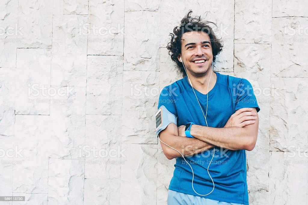 Smiling sportsman stock photo