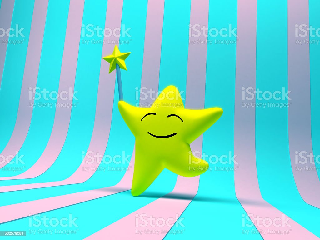 smiling star with magic wand stock photo