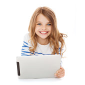 education, technology, people and internet concept - smiling little student girl with tablet pc computer