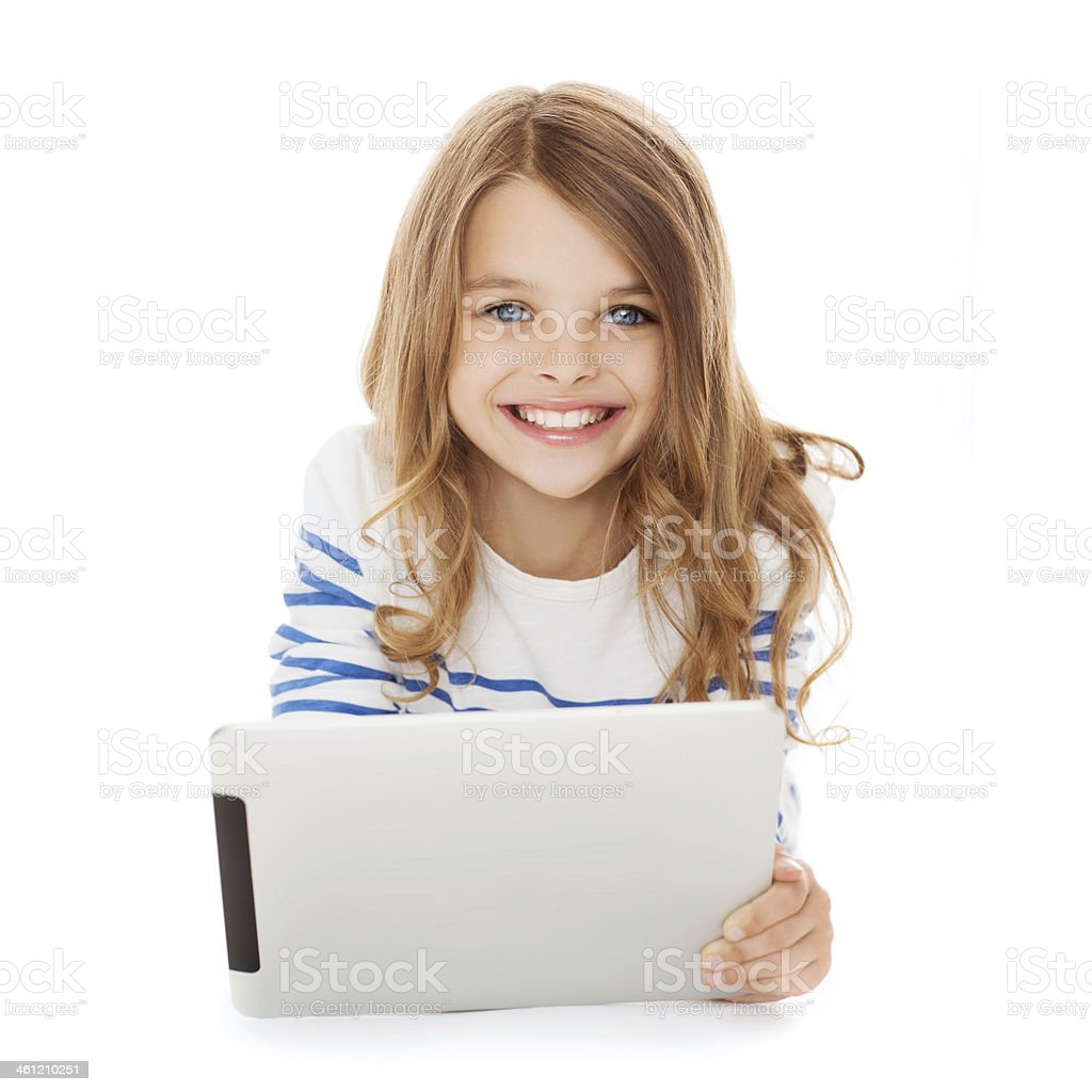 smiling student girl with tablet pc computer stock photo