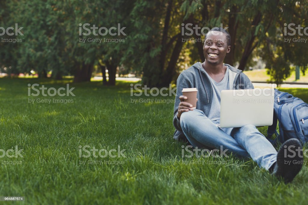Smiling student sitting on grass using laptop royalty-free stock photo