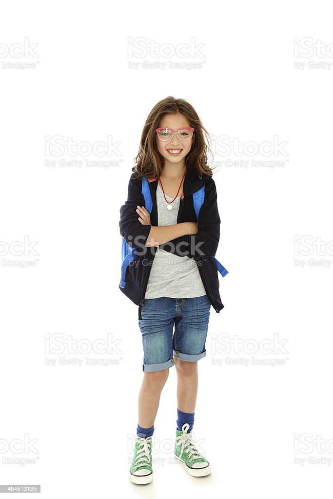 Smiling student with crossed arms stock photo