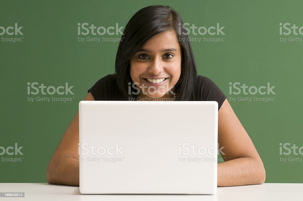 smiling student with laptop royalty-free stock photo