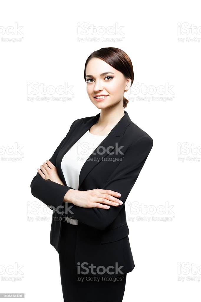 Smiling sucsess business woman portrait. Crossed arms. royalty-free stock photo