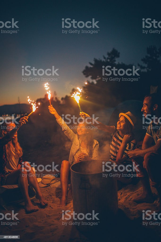 Smiling summer people stock photo