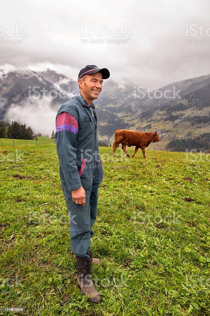 Lächeln Schweizer Farmer mit Kühe Grasen auf Wiese – Foto