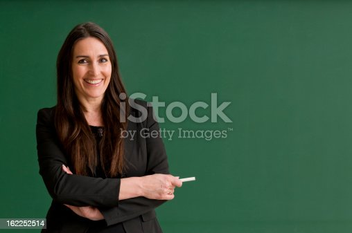 istock smiling teacher at blackboard 162252514