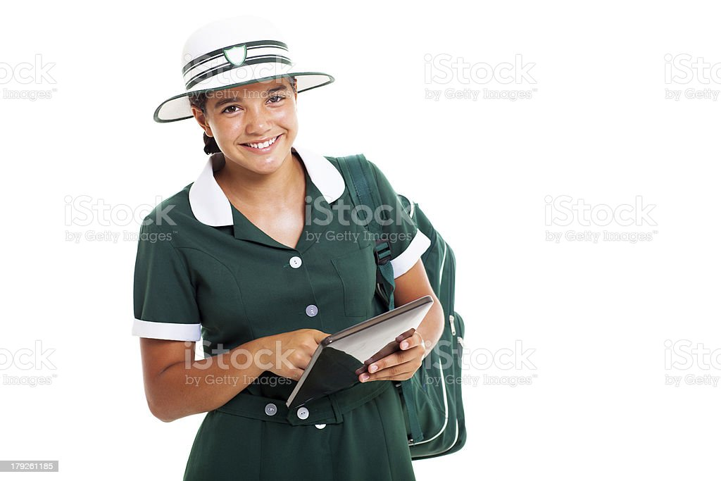 smiling teen schoolgirl with tablet computer royalty-free stock photo