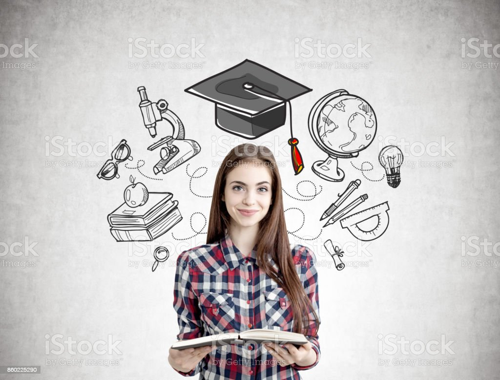 Smiling teen with a book, education icons - foto stock