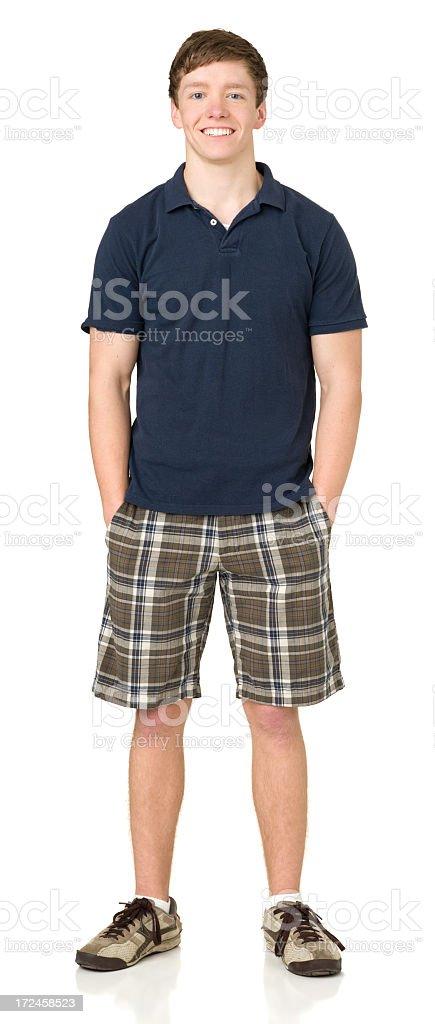 Smiling Teenage Boy Full-Length Portrait stock photo