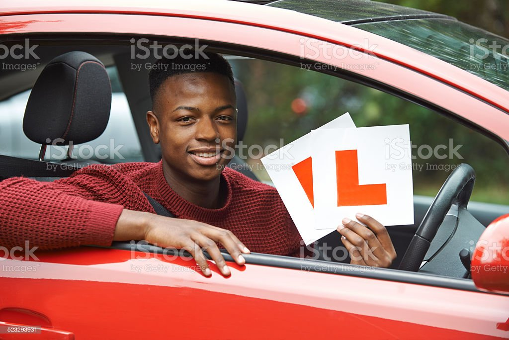 Smiling Teenage Boy In Car Passing Driving Exam stock photo