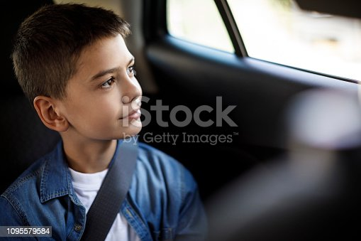 Smiling teenage boy in the car