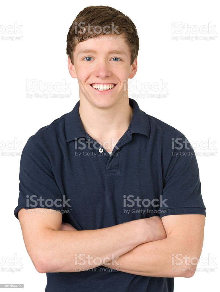 Smiling Teenage Boy Portrait, Arms Crossed stock photo