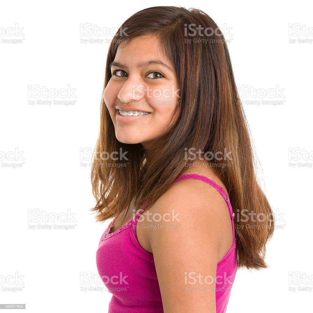 Smiling Teenage Girl Close Up Portrait royalty-free stock photo