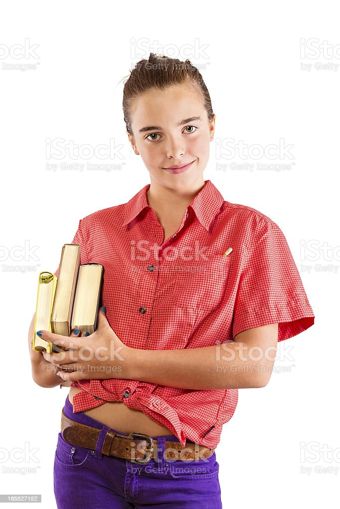 smiling teenage girl wearing some books, isolated on white royalty-free stock photo