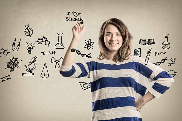 smiling teenage girl, with science doodles - doodle stock photos and pictures