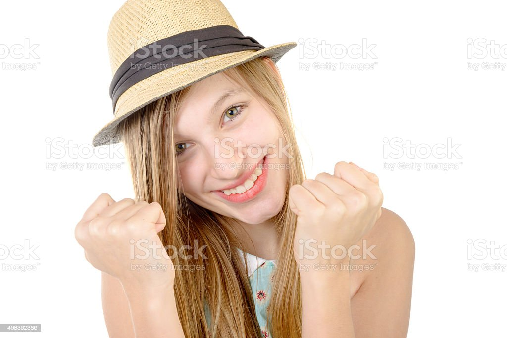 smiling teenager showing fists royalty-free stock photo