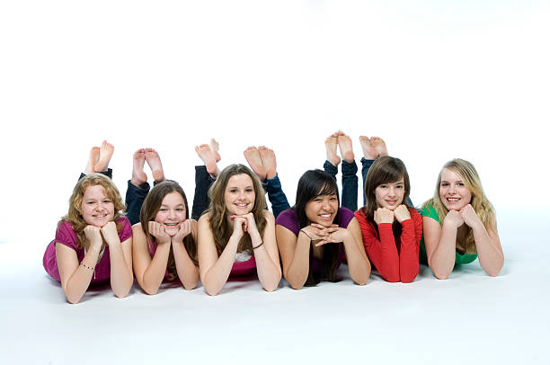 smiling teenagers  sole of foot stock pictures, royalty-free photos & images