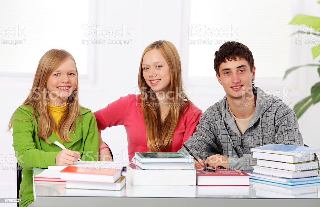 Smiling teenagers with many books. royalty free stockfoto
