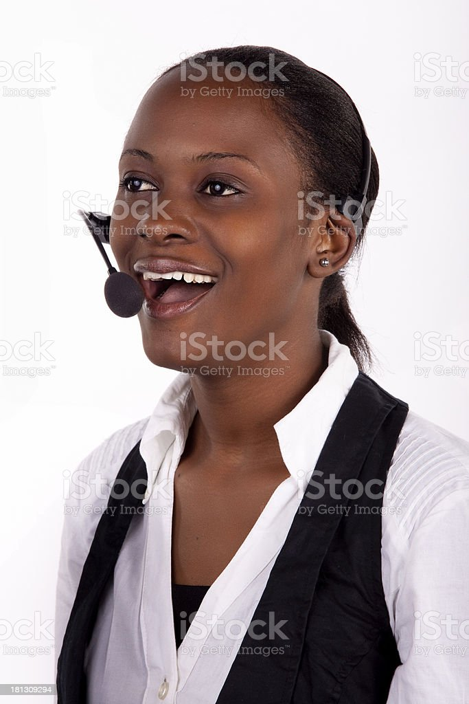 Smiling telephonist royalty-free stock photo