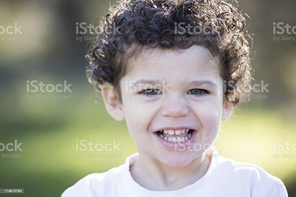 Smiling Toddler Boy Outdoors royalty-free stock photo