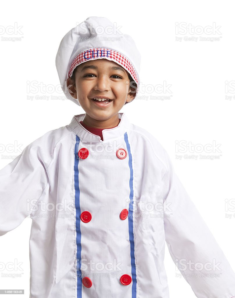 Smiling Toddler dressed as a chef, isolated, white stock photo