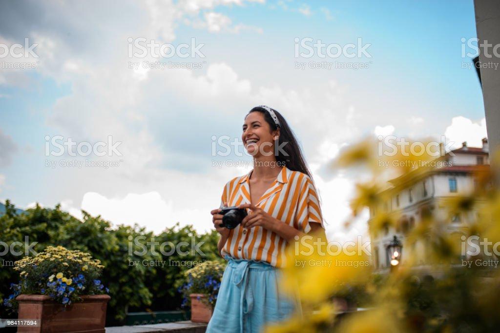 Smiling tourist woman. stock photo