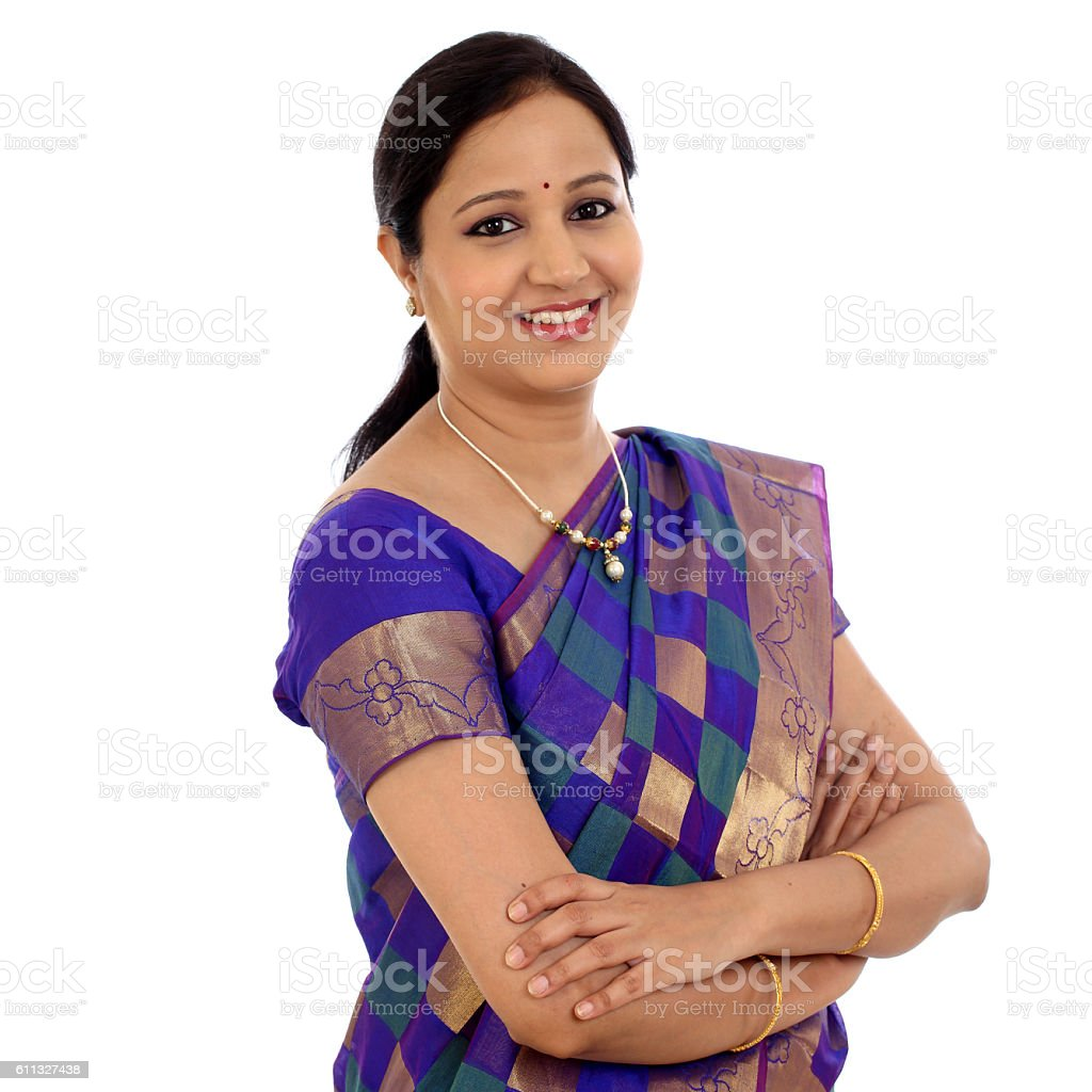 Smiling traditional Indian woman stock photo