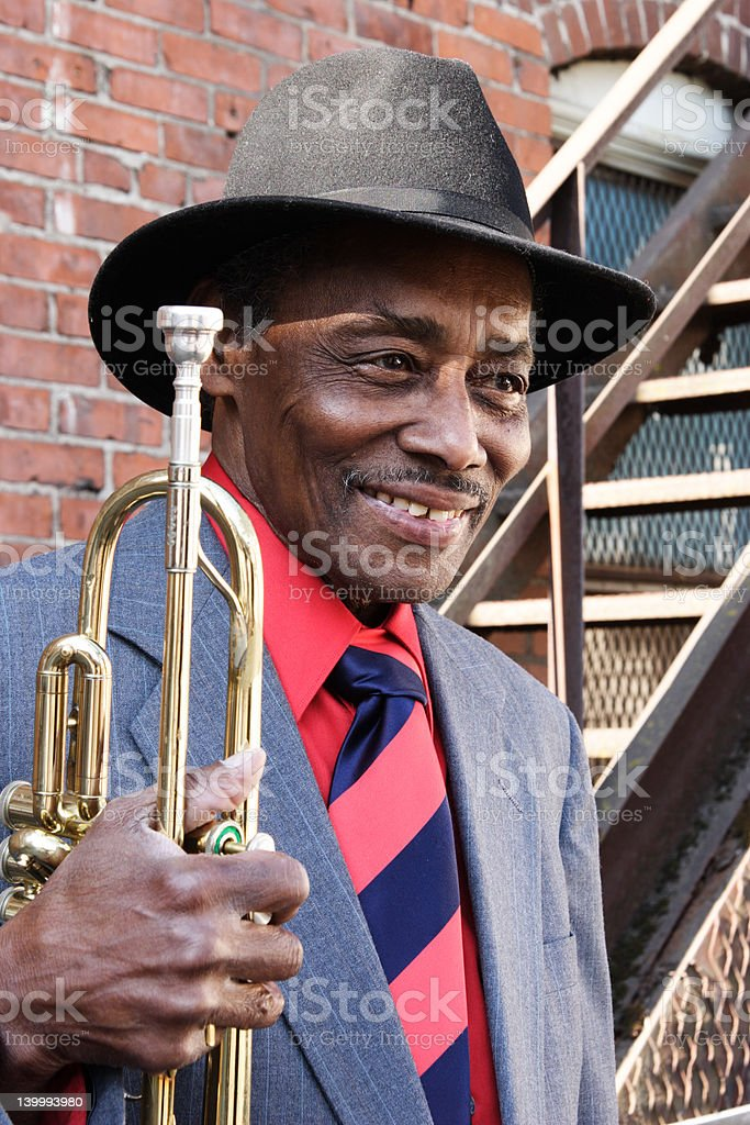 Smiling Trumpet Player stock photo