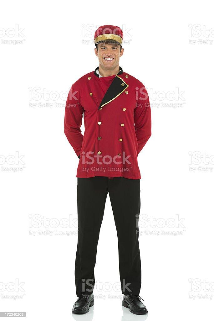 Smiling valet posing stock photo