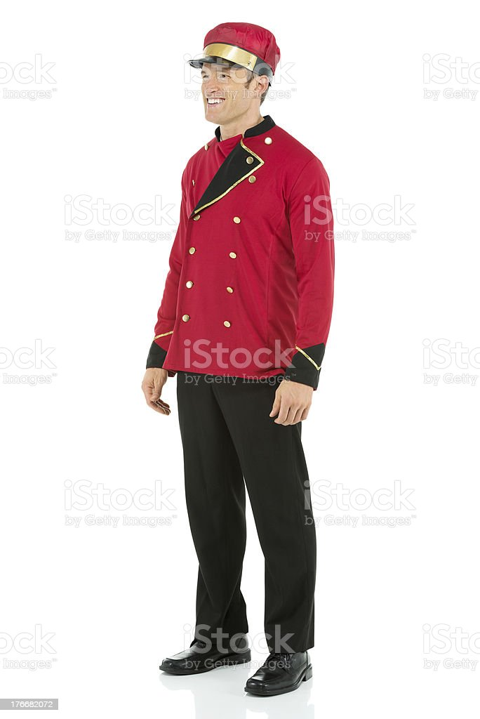 Smiling valet standing royalty-free stock photo