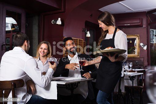 istock Smiling waitress and guests at the table 540740038