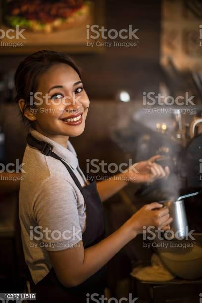Smiling waitress at work brew up coffe picture id1032711516?b=1&k=6&m=1032711516&s=612x612&h=fxoaru yopchfoamywp2etkuidkjfwwlledm nkways=