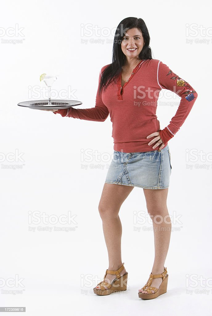 smiling waitress with martini royalty-free stock photo