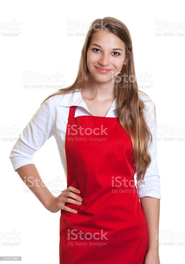 Smiling waitress with red apron stock photo