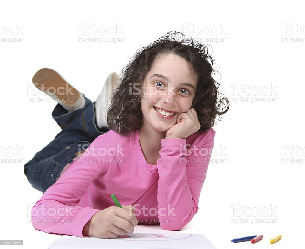 Smiling While Drawing royalty-free stock photo
