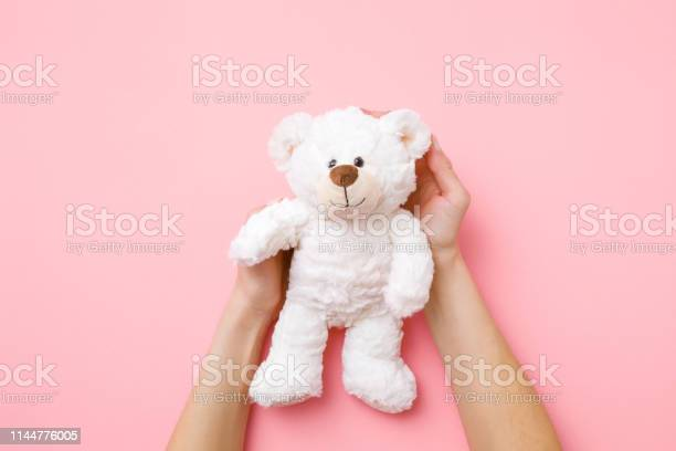 Smiling white teddy bear in girl hands on pastel pink background kids picture id1144776005?b=1&k=6&m=1144776005&s=612x612&h=fdv6sos1aaq1pjhj ke9l6zkmw aop4rn30d usq58k=