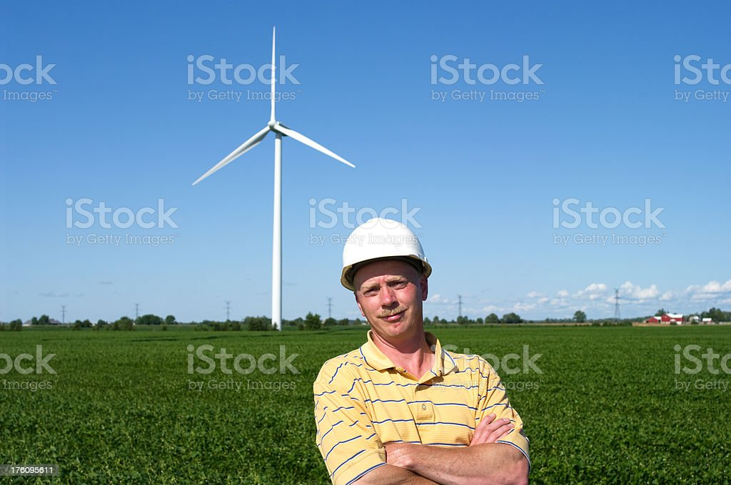 Smiling Windmill Technician royalty-free stock photo