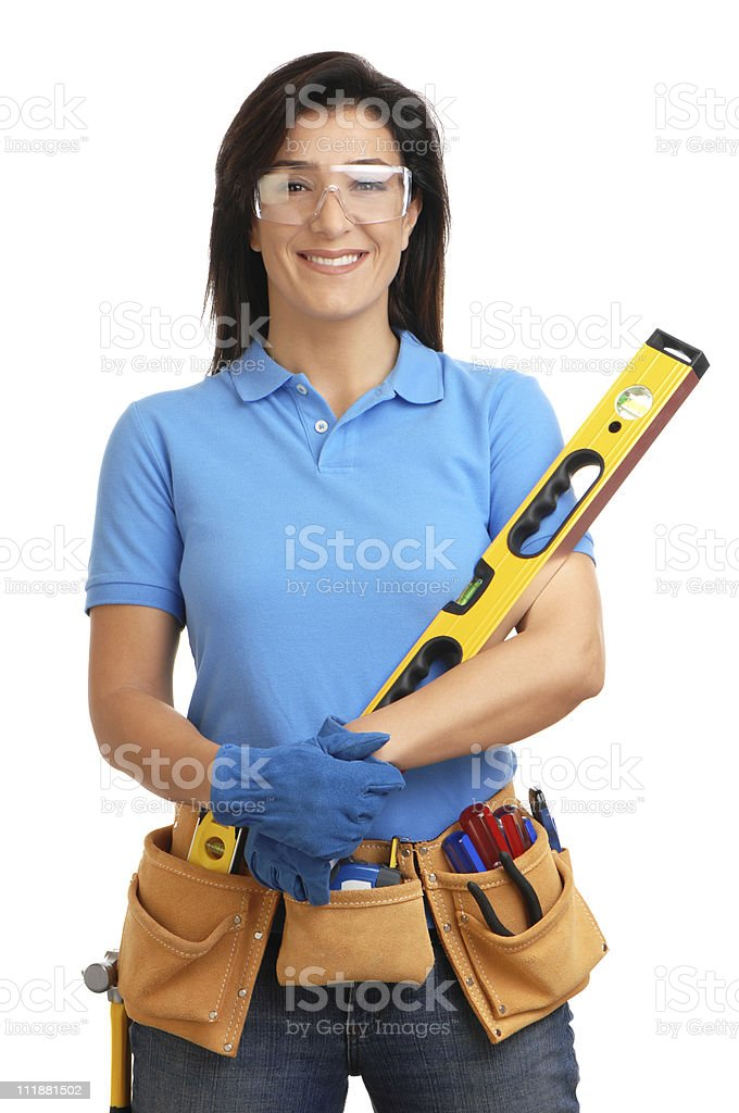 Smiling Woman Construction Contractor Carpenter with Toolbelt Level on White royalty-free stock photo