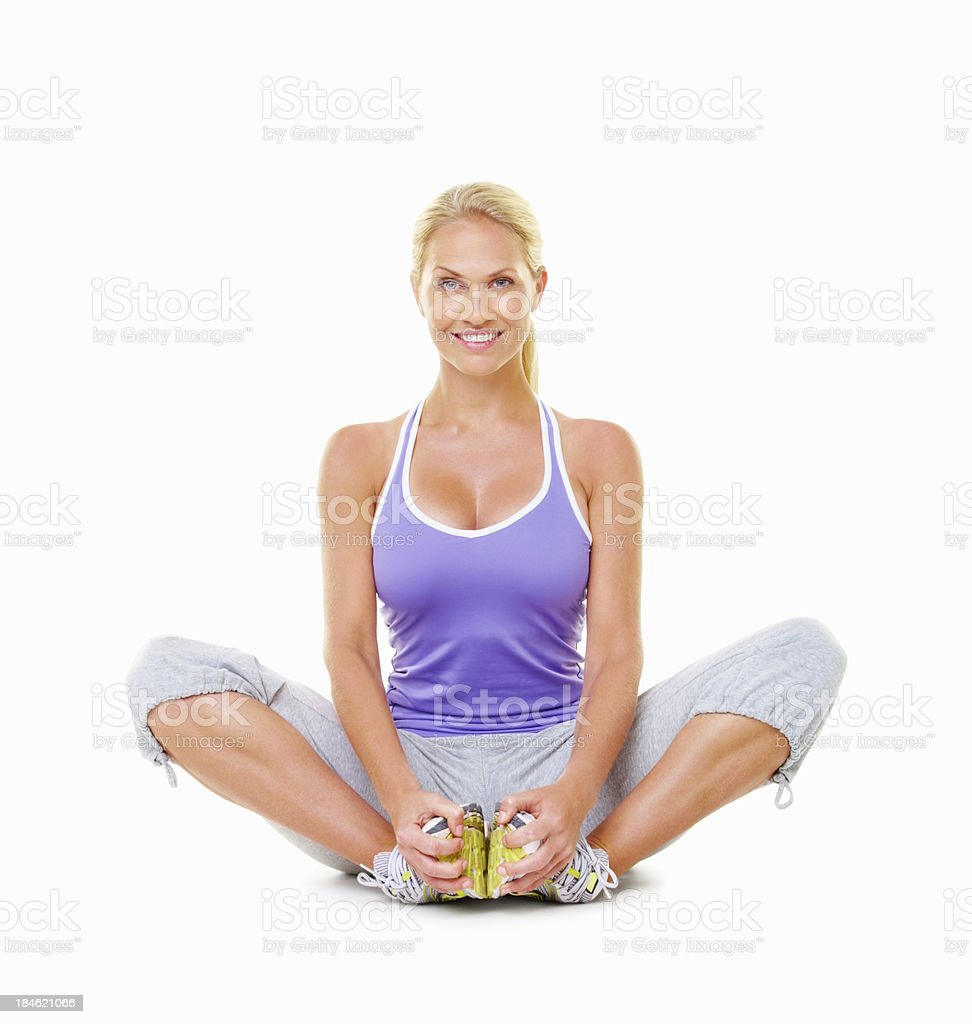 Smiling woman doing yoga royalty-free stock photo