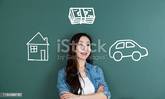 481974106istockphoto Smiling woman dreaming about house and car 1154086782
