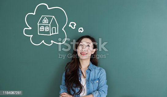 481974106istockphoto Smiling woman dreaming about house in front of blackboard 1154087251