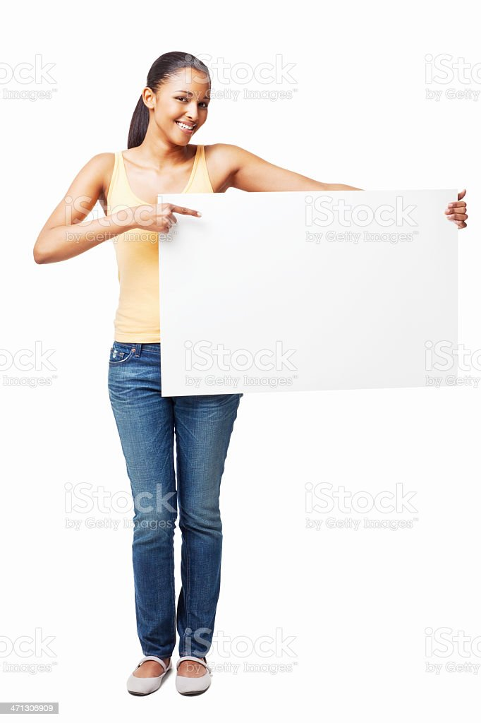 Smiling Woman Holding a Blank Placard - Isolated royalty-free stock photo