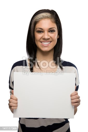 istock Smiling Woman Holding a Blank Sign 141117368