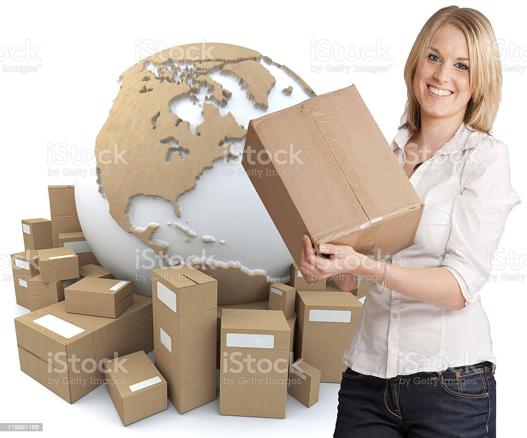 A smiling woman holding a box in front of a globe royalty-free stock photo
