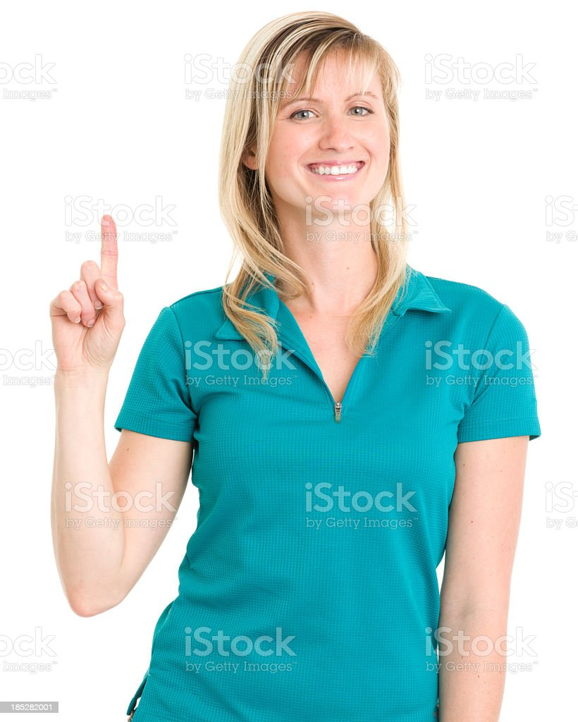 Smiling Woman Holds Up One Finger royalty-free stock photo